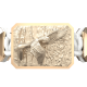 Miss You bracelet with ceramic and sculpture finished in 18k Rose Gold complemented with a white coloured cord.