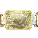 Pulsera I Love My Baby con cerámica y escultura acabadas en Oro Amarillo de 18k. Hilo blanco.