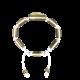 Pulsera Forever In My Heart con cerámica y escultura acabadas en Oro Amarillo de 18k. Hilo blanco.