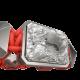 Pulsera Selfmade con cerámica y escultura acabadas en efecto Platino. Hilo rojo.