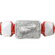 Proud Of You bracelet with white ceramic and sculpture finished in a Platinum effect complemented with a red coloured cord.
