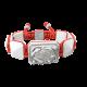 Pulsera I Quit con cerámica blanca y escultura acabada en efecto Platino. Hilo rojo.