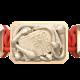 Pulsera I Quit con cerámica y escultura acabadas en Oro Rosa de 18k. Hilo rojo.