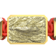 I'm Different bracelet with ceramic and sculpture finished in 18k Yellow Gold complemented with a red coloured cord.