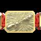 Pulsera Forever In My Heart con cerámica y escultura acabadas en Oro Amarillo de 18k. Hilo rojo.