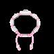 Pulsera I Love Me con cerámica blanca y escultura acabada en efecto Platino. Hilo rosa.