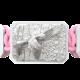 Pulsera Miss You con cerámica blanca y escultura acabada en efecto Platino. Hilo rosa.