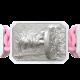 Pulsera I Will Fight till the End con cerámica blanca y escultura acabada en efecto Platino. Hilo rosa.
