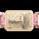 Pulsera I Will Fight till the End con cerámica y escultura acabadas en Oro Rosa de 18k. Hilo rosa.