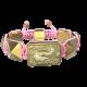 Pulsera Proud Of You con cerámica y escultura acabadas en Oro Amarillo de 18k. Hilo rosa.