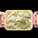 Pulsera I Love Me con cerámica y escultura acabadas en Oro Amarillo de 18k. Hilo rosa.