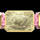 Pulsera I Love My Baby con cerámica y escultura acabadas en Oro Amarillo de 18k. Hilo rosa.