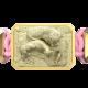 Pulsera My Family First con cerámica y escultura acabadas en Oro Amarillo de 18k. Hilo rosa.