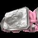 Pulsera Proud Of You con cerámica y escultura acabadas en efecto Platino. Hilo rosa.