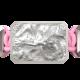 Pulsera I Love Me con cerámica y escultura acabadas en efecto Platino. Hilo rosa.