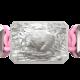 Pulsera I Love My Baby con cerámica y escultura acabadas en efecto Platino. Hilo rosa.