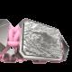 Pulsera I'm Different con cerámica y escultura acabadas en efecto Platino. Hilo rosa.