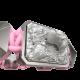 Pulsera Selfmade con cerámica y escultura acabadas en efecto Platino. Hilo rosa.