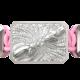 Pulsera Forever In My Heart con cerámica y escultura acabadas en efecto Platino. Hilo rosa.