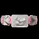 Pulsera My Family First con cerámica y escultura acabadas en efecto Platino. Hilo rosa.