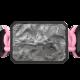 Pulsera I Love Me con cerámica negra y escultura acabada en color antracita. Hilo rosa.