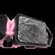 Pulsera I'm Different con cerámica negra y escultura acabada en color antracita. Hilo rosa.