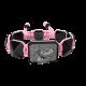 Pulsera My Family First con cerámica negra y escultura acabada en color antracita. Hilo rosa.