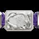 Pulsera I Quit con cerámica y escultura acabadas en efecto Platino. Hilo violeta.