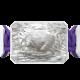 Pulsera I Love My Baby con cerámica blanca y escultura acabada en efecto Platino. Hilo violeta.