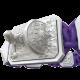 Pulsera I Will Fight till the End con cerámica blanca y escultura acabada en efecto Platino. Hilo violeta.