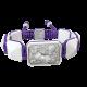 Pulsera Selfmade con cerámica blanca y escultura acabada en efecto Platino. Hilo violeta.