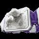 Pulsera My Family First con cerámica blanca y escultura acabada en efecto Platino. Hilo violeta.