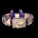 Pulsera My Family First con cerámica y escultura acabadas en Oro Rosa de 18k. Hilo violeta.