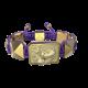 Pulsera My Family First con cerámica y escultura acabadas en Oro Amarillo de 18k. Hilo violeta