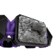 Pulsera Selfmade con cerámica negra y escultura acabada en color antracita. Hilo violeta.