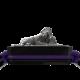 Pulsera My Family First con cerámica negra y escultura acabada en color antracita. Hilo violeta.