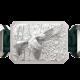 Pulsera Miss You con cerámica y escultura acabadas en efecto Platino. Hilo verde oscuro.