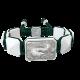Pulsera Proud Of You con cerámica blanca y escultura acabada en efecto Platino. Hilo verde oscuro.