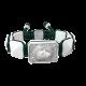 Pulsera I Love Me con cerámica blanca y escultura acabada en efecto Platino. Hilo verde oscuro.