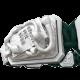 Pulsera I Quit con cerámica blanca y escultura acabada en efecto Platino. Hilo verde oscuro.