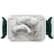 Pulsera My Family First con cerámica blanca y escultura acabada en efecto Platino. Hilo verde oscuro