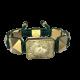 Pulsera I Love My Baby con cerámica y escultura acabadas en Oro Amarillo de 18k. Hilo verde oscuro.