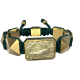 I'm Different bracelet with ceramic and sculpture finished in 18k Yellow Gold complemented with a green coloured cord.