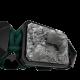 Pulsera Selfmade con cerámica negra y escultura acabada en color antracita. Hilo verde oscuro.
