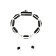Pulsera Miss You con cerámica negra y escultura acabada en color antracita. Hilo blanco.