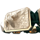 Pulsera Miss You con cerámica y escultura acabadas en Oro Rosa de 18k. Hilo verde oscuro.