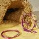 Maze Earth Bracelet finished in Rose Gold. Carved in ceramics. Lavender thread.