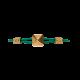 Pulsera Maze Pyramid acabada en Oro Amarillo. Tallada en cerámica. Hilo verde.