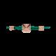 Pulsera Maze Pyramid acabada en Oro Rosa. Tallada en cerámica. Hilo verde.