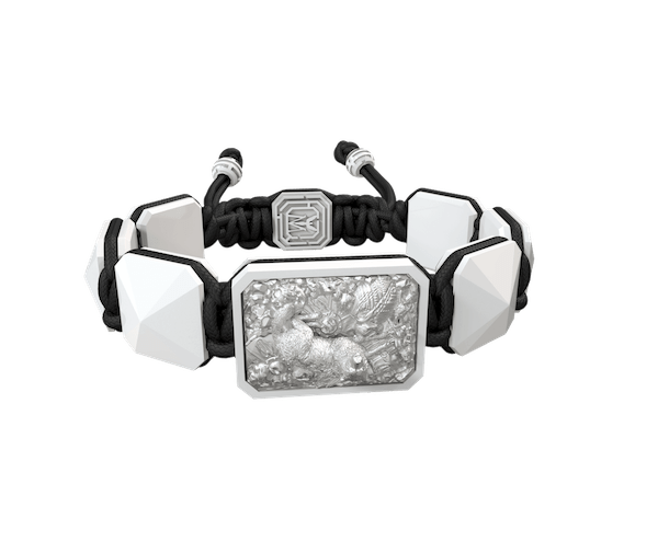 Shop Selfmade bracelet with white ceramic and sculpture finished in a Platinum effect complemented with a black coloured cord.